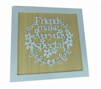 FRIENDS MAKE EVERY DAY SPECIAL PAPER CUT 3D WORDS WOODEN GIFT BOX BROWN 18cm